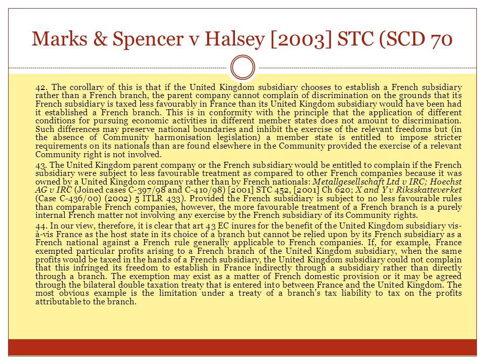 Marks & Spencer v Halsey [2003] STC (SCD 70